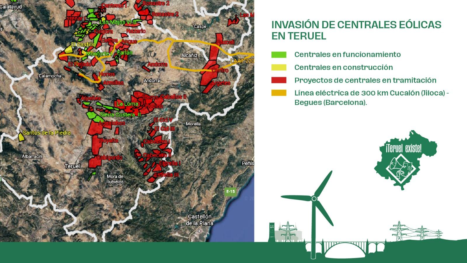 Mapa de Teruel Existe sobre la invasión de las centrales eólicas en la provincia.