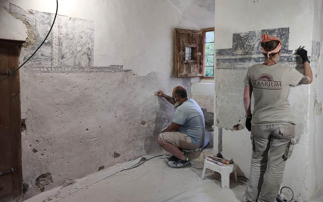 Trabajos de restauración en el Convento de Mirambel./Ayuntamiento de Mirambel