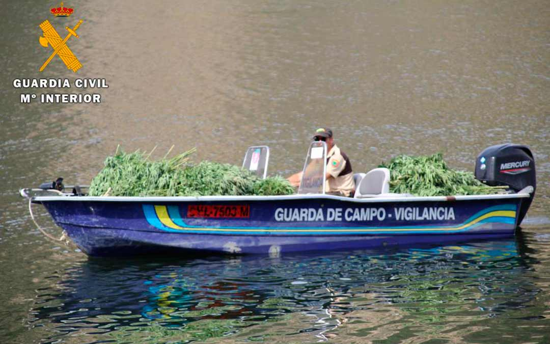La Guardia Civil en el embalse de Fayón retirando las plantas desmanteladas / Guardia Civil