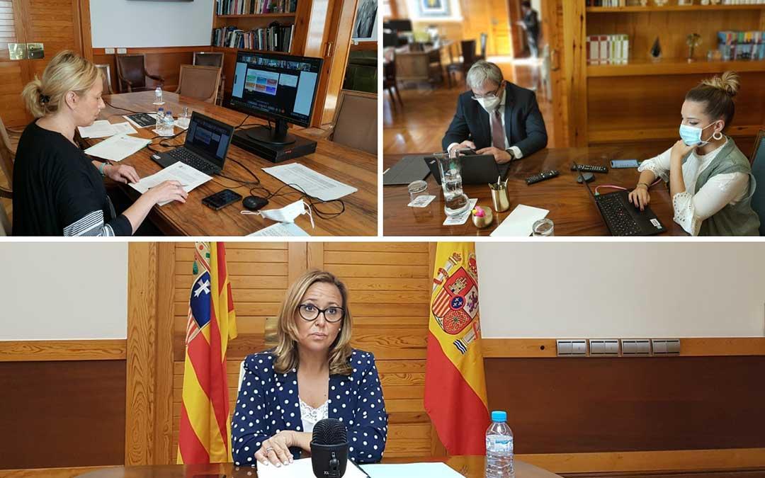 Las consejeras de Ciencia, Universidad y Sociedad del Conocimiento, Maru Díaz; de Presidencia, Mayte Pérez; y de Economía, Planificación y Empleo, Marta Gastón, han participado en la Conferencia Sectorial. / Gobierno de Aragón