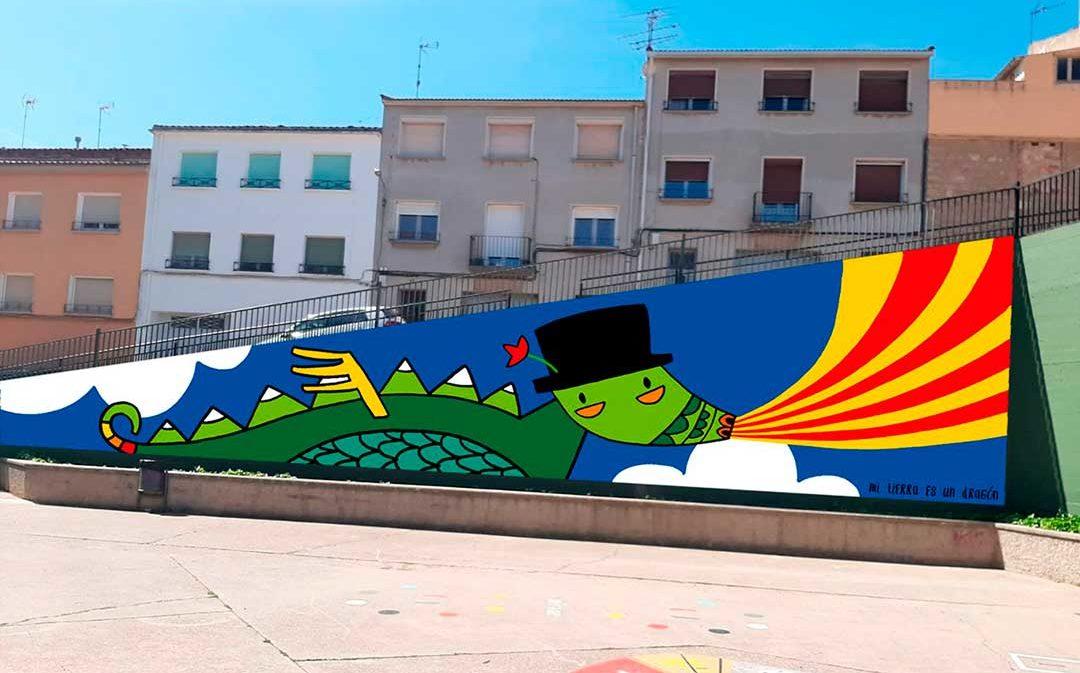 Las paredes de Caspe se cubren de colores con murales urbanos
