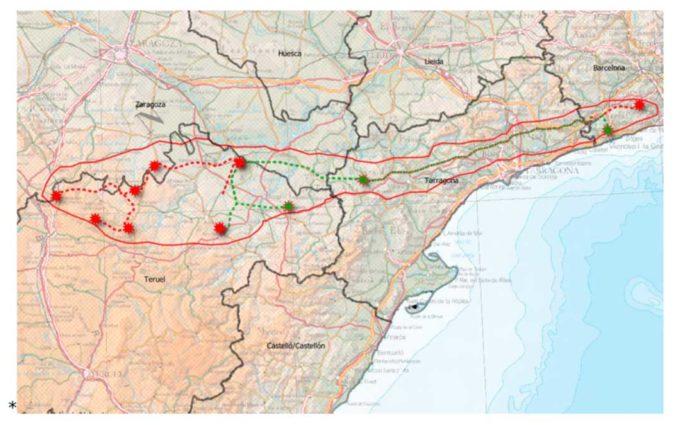 Teruel Existe presenta alegaciones contra la línea eléctrica y el Clúster Begues que discurriría por el norte de la provincia