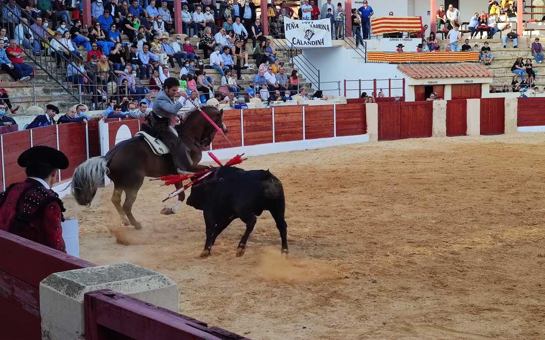 Domínguez en el festejo de rejones. / A. Gracia