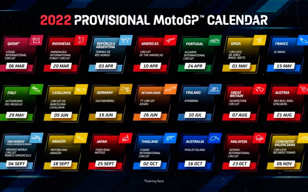 Calendario provisional de MotoGP 2022. / Dorna