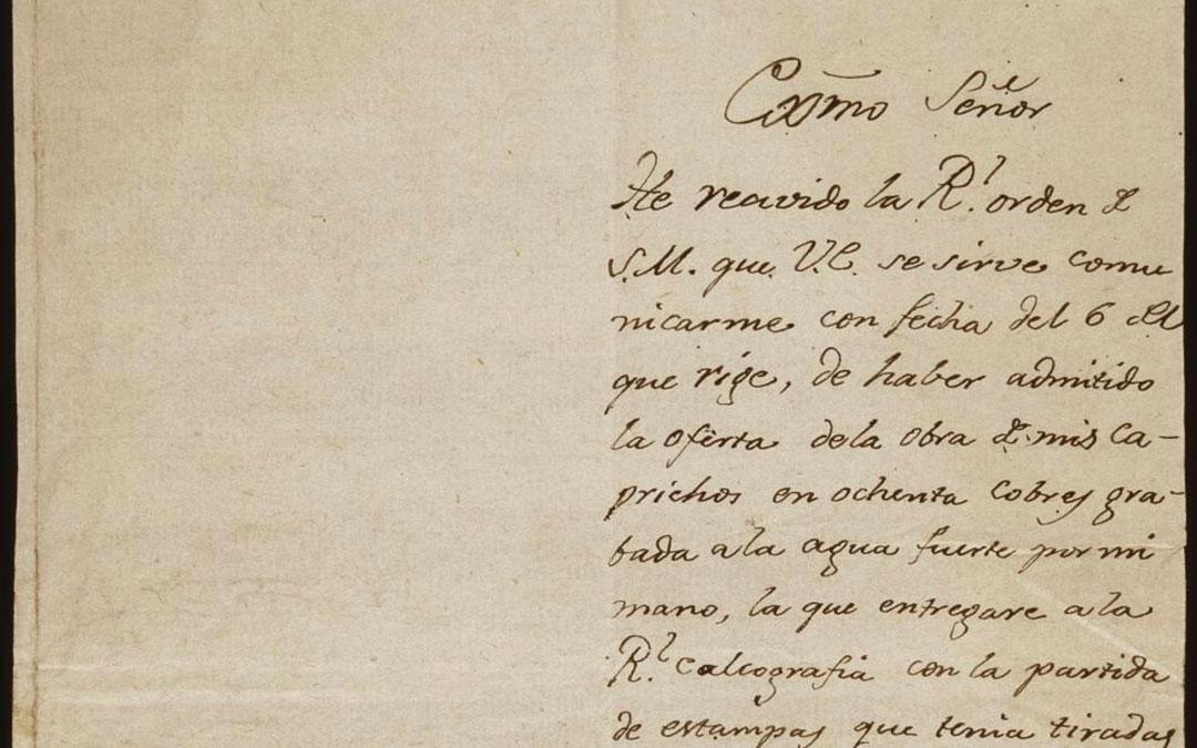 Carta escrita por Goya el 9 de octubre de 1803 en papel fabricado en Valderrobres./ Museo del Prado