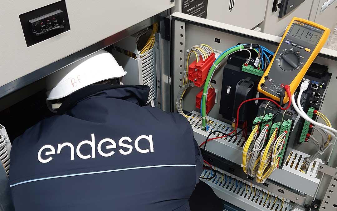 Un empleado de la eléctrica realizando trabajos de mejora / Endesa