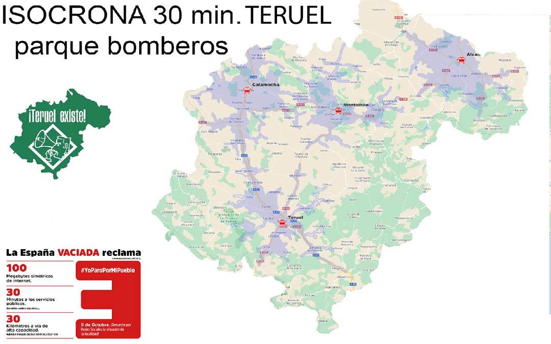 Mapa isocrona Bomberos./T.E.