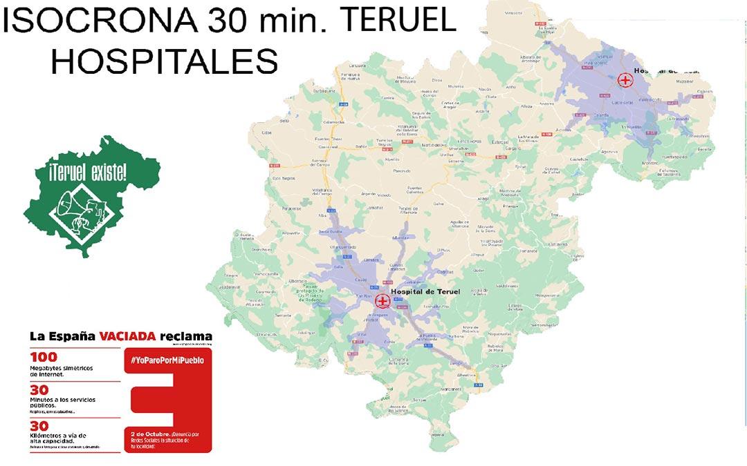 Mapa isocrona Hospitales./T.E.