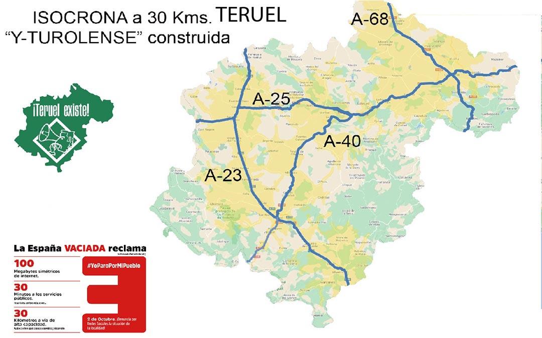 Mapa isocrona Infraestructuras./T.E.