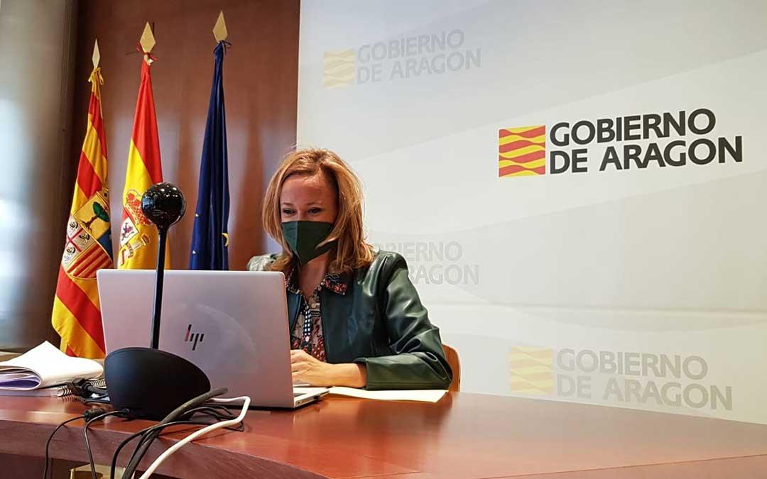 Mayte Pérez se ha reunido este jueves con las Castillas para poner en común cómo articular las bonificaciones en los costes laborales / DGA