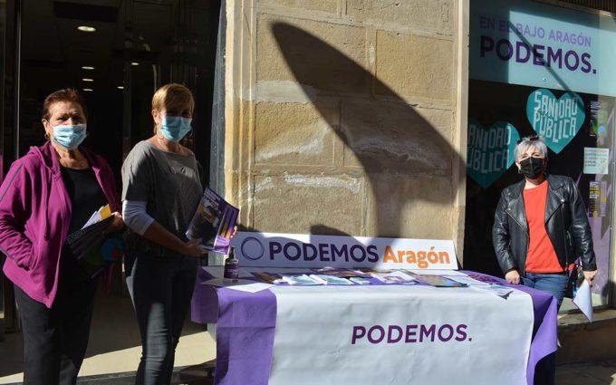 Podemos realiza una jornada informativa en Alcañiz para reivindicar su acción en el Gobierno