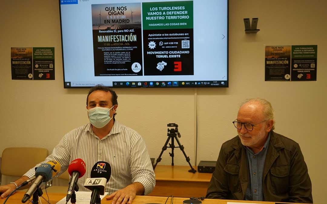Rueda de prensa de Teruel Existe sobre la manifestación del próximo 16 de octubre./ Teruel Existe